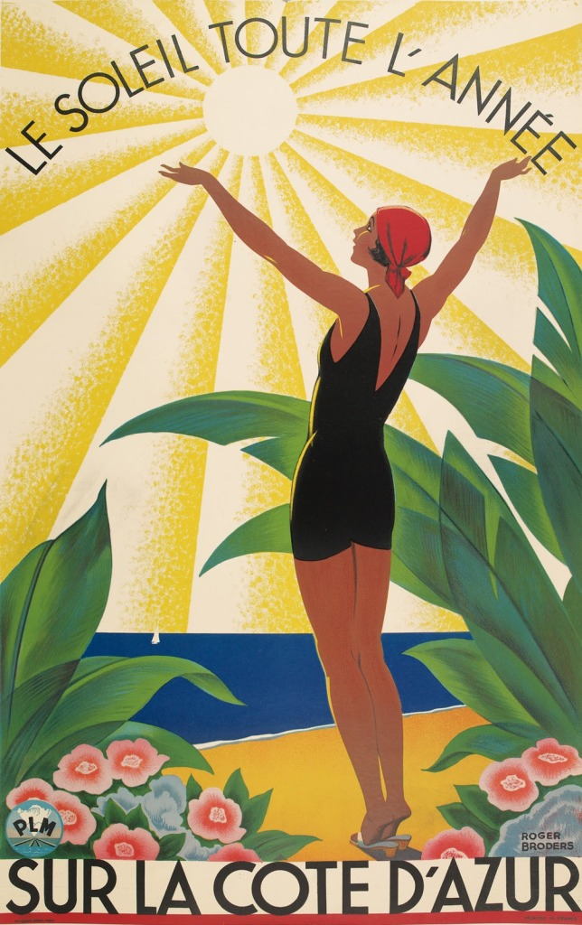 artdecotravelpostersThe-Sun-All-Year-On-the-Côte-d'Azur-1931-Roger-Broders